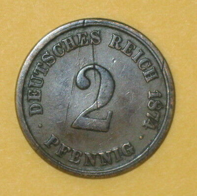 1874 Germany 2 Pfennig Coin  - Excellent Condition