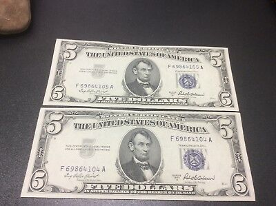 Two 1953-A $5 Sequential Five Dollars *silver Certificate Currency Note