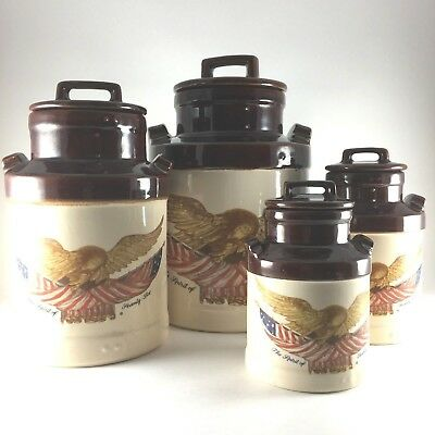 VINTAGE 4 PC SET OF McCOY MILK CANISTER SPIRIT OF 76 EAGLE NATIONAL GALLERY