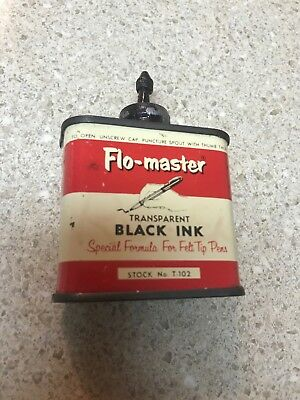 Vintage Flo-Master 2 Oz Black Ink Lead Top T-102 Flomaster