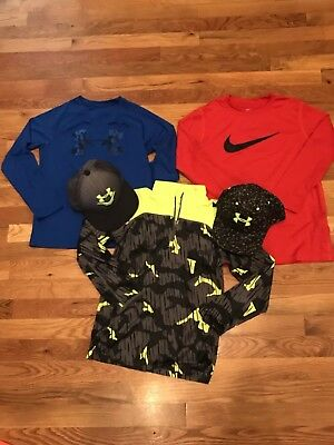 Lot Of 3 Under Armour/ Nike dri fit long sleeve shirts with 2 ball caps size YS