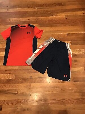 Under Armour Youth Boys Short Sleeve Shirt And Shorts Size Medium NWOT!!!