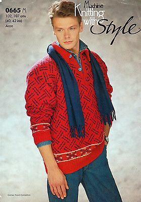 """~ Style Machine Knitting Pattern For Man's Fair Isle Sweater  ~ 40"""" ~ 42"""" Chest"""