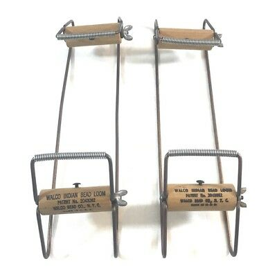 A Pair Of Vintage Walco Wood And Metal Indian Bead Loom Patent No. 2043082