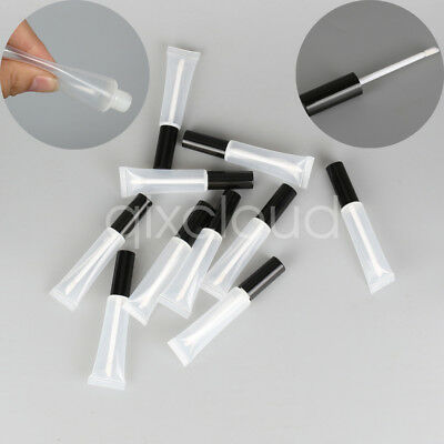 Lot 15ml Empty Plastic Clear Lip Gloss Tubes Lip Balm Containers Soft Tube Brush