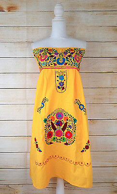 Women's Strapless Mexican Dress Yellow Floral Embroidered Large Handmade Peasant