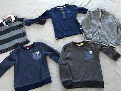 Boys Size 5T/5 long sleeved shirts. Lot of 5. Carter's brand. Gray, navy blue.