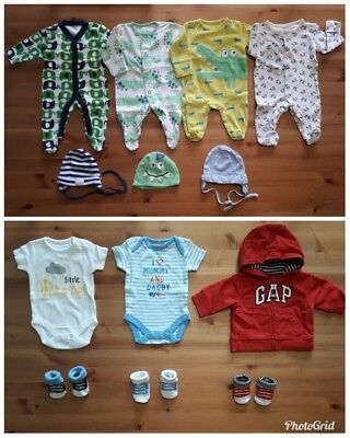 Baby boys bundle of sleepsuits bodysuits hats hoodie Newborn First size VGC