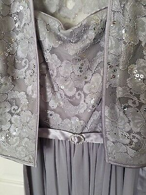R & M Richards Silver Formal Dress With Vest Size 6 Petite Mother Of The Bride