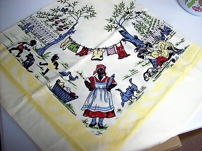 Vintage BLACK AMERICANA Printed Tablecloth - NEVER USED  MUSEUM QUALITY