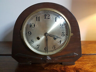 Antique 1930's Art Deco Oak Mantle Clock with Original Pendulum (Vintage)