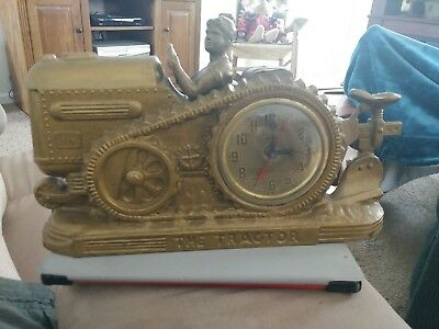 *RARE* Vintage Cast STEAM TRACTOR w PLOW & Farmer CLOCK by UNITED
