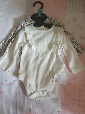 Mothercare Girls 0-3 Months Long Sleeve Vest New With Tags