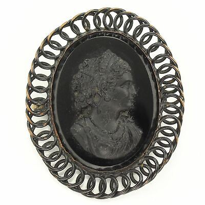 Antique 1880's JAPANNED BRASS Filigree BLACK GLASS MOURNING CAMEO BROOCH