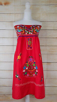 Women's Strapless Mexican Dress Red Floral Embroidered Large Handmade Peasant