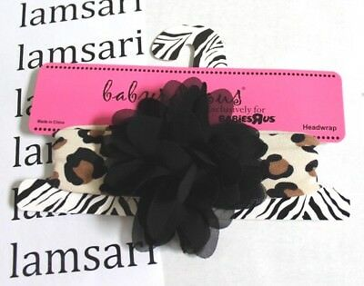 Babyrageous Girls' Headwrap Headband Black Brown Leopard Print with Rosette