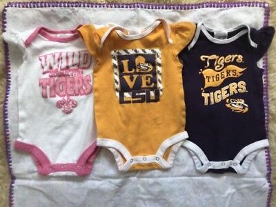 LSU Tigers Baby 6/9 Month Girl 3 OnePiece Russel Brand Cotton
