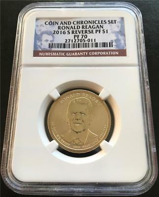 2016 S $1 Ronald Reagan Presidential Dollar Reverse Proof NGC PF70