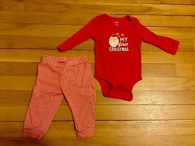 CARTERS BABY MY FIRST CHRISTMAS SANTA CLAUS BODYSUIT & PANTS SET 9 months