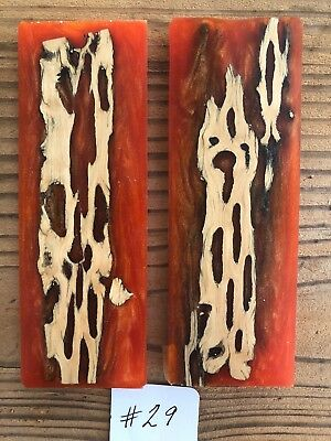 Resin and Cholla Wood Cactus Knife Scales. Handmade Knife Handles.
