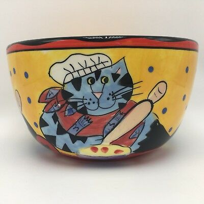 "Catzilla Candace Reiter Chef Cats Salad Cereal Ice Cream Serving Bowl 6"" 2002"