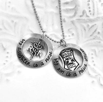 My Son is A Police Officer Firefighter Cop Hero My Daughter is A Nurse Necklace