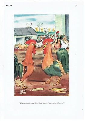 1938 Robert Holley Roosters Farm Humor Full Page Color Illustration Awesome!