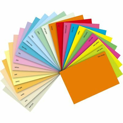 A4 Coloured Art & Craft Sheets 80gsm Paper Bright Deep Pastel Neon Mix Colours