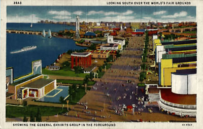 Looking South Over the Grounds CHICAGO WORLDS FAIR 1933-34 Vintage COP Postcard