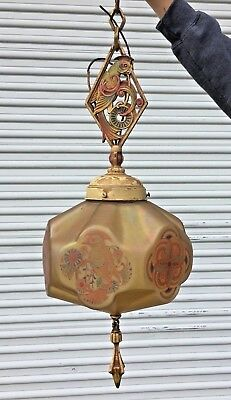 Antique After Sunset Lightolier Chandelier Art Deco Parrot Ceiling Light Fixture