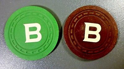 """2 """"B"""" Casino Chips From Piping Rock Casino Saratoga Springs NY Green and Brown"""