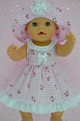 """Play n Wear Doll Clothes To Fit 17"""" Baby Born PINK GINGHAM OVERLAY DRESS~HAT"""