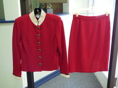 St. John Collection By Marie Gray Red Button Down Blazer and Skirt Suit Size 2