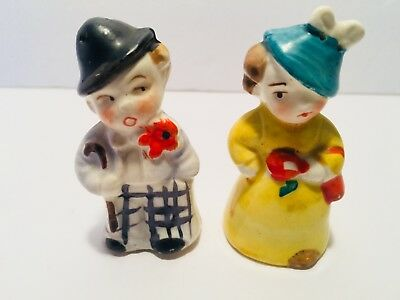 Collectible Vintage Salt and Pepper Shakers Little Man and Woman