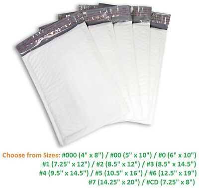 Poly Bubble Mailers #000 #00 #0 #1 #2 #3 #4 #5 #6 #7 Padded Envelopes 5-3000