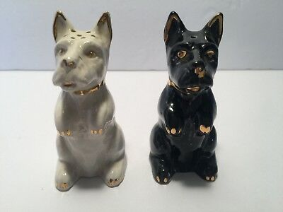 Collectible Vintage Salt and Pepper Shakers Black and White Dogs