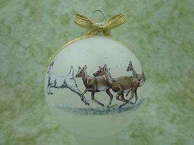 W006 Hand-made Christmas Ornament DEER - herd lead by white buck in snow