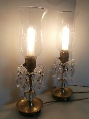 "1940,s Electric Brass and Crystal Candelabras 17"" tall very good condition"