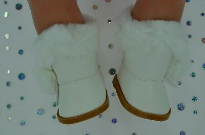 """Dolls Shoes For 17""""Baby Born~18""""American Girl  WHITE WINTER BOOTS"""