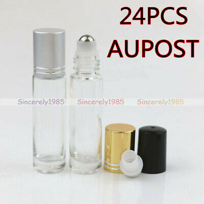 12X 150X 5ml 10ml Clear THICK Glass Roll On Bottles Metal Roller Essential Oils