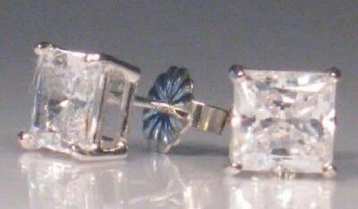 2 Ct Diamond Stud Earrings Princess cut Solitaire White Gold Platinum finish