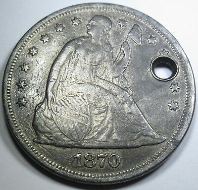 1870 $1 US Silver Dollar Seated Liberty XF Details Antique Currency Coin Money