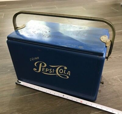 Vintage Pepsi Cola Cooler Metal 1950s Blue with White Embossed Logo