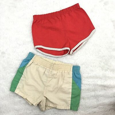Lot 2 Vtg Track Shorts Toddler 3 Winnie Pooh Red Blue 70's READ*