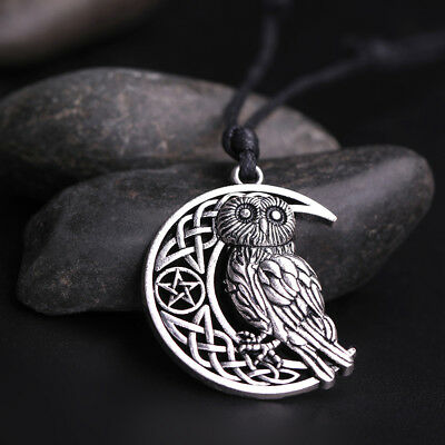 Goddess Crescent Moon Pendant Owl Necklace Wicca Pentagram Pagan Amulet Talisman