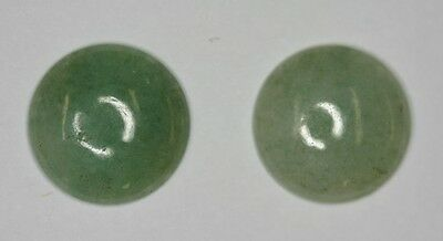Lot of 2 Green Aventurine 16mm Round Cabochon.  Good for Earrings.