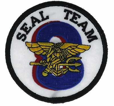 US NAVY SEAL Team 8 Eight 3 Inch Blue Cap Hat Embroidered Patch F2D7R