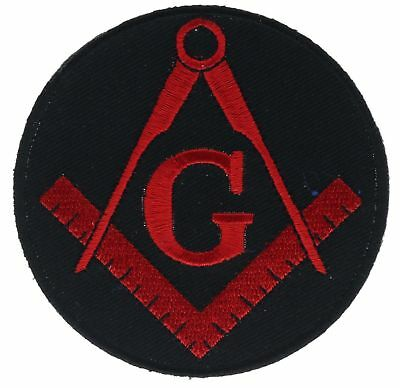 Mason Masonic Red Black 3 Inch Embroidered Hat Shoulder Patch F2D15R