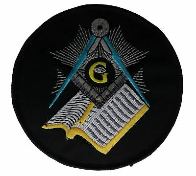 Masonic Mason Book and Compass 4 inch patch D21