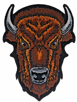 Bull Buffalo Bison Head 6 Inch height Embroidered Hat Shoulder Patch F2D16Q